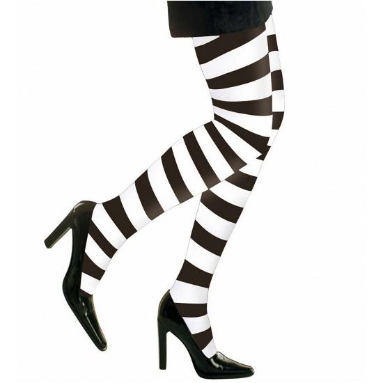 Heksen verkleedaccessoires panty maillot zwart/wit voor dames