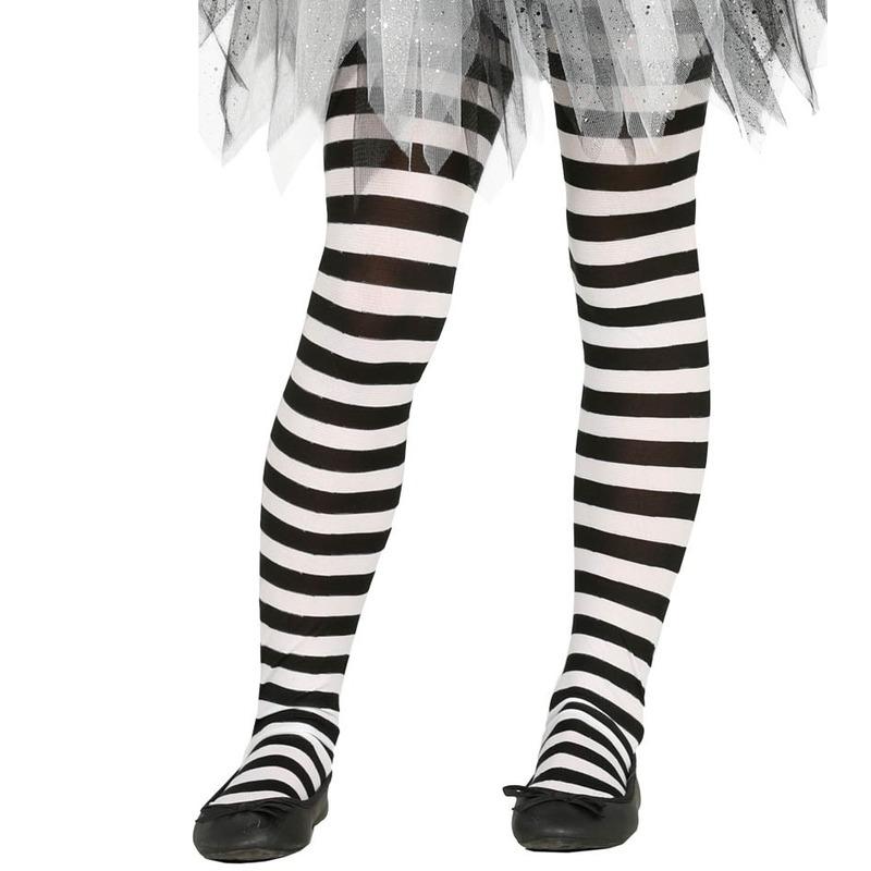Merkloos Heksen verkleedaccessoires panty maillot zwart/wit voor meisjes
