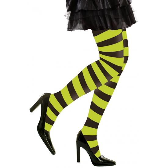 Merkloos Heksen verkleedaccessoires panty zwart/groen voor dames maat XL