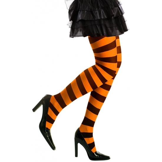 Heksen verkleedaccessoires panty zwart/oranje voor dames maat XL