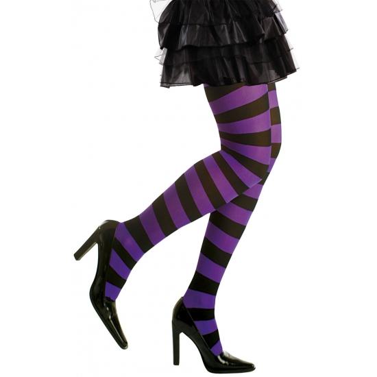 Heksen verkleedaccessoires panty zwart/paars voor dames maat M/L