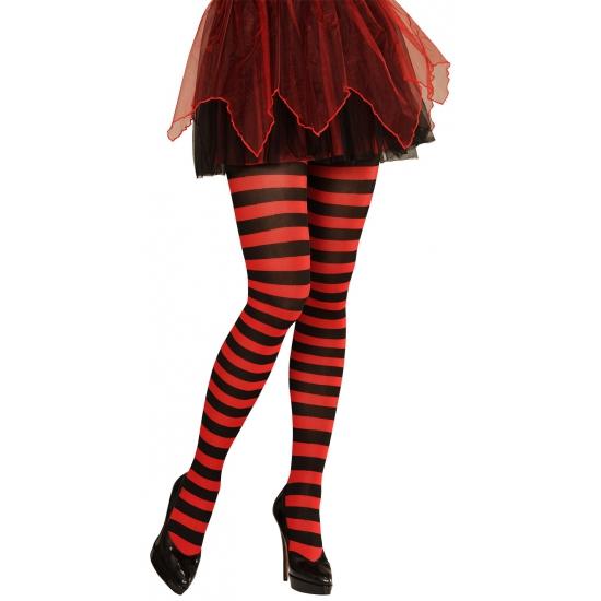 Heksen verkleedaccessoires panty zwart/rood voor dames maat M/L