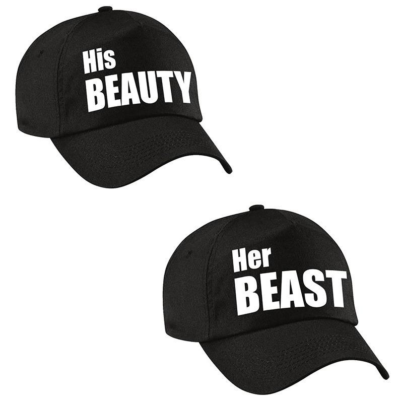 Her Beast en His beauty caps zwart met witte tekst volwassenen