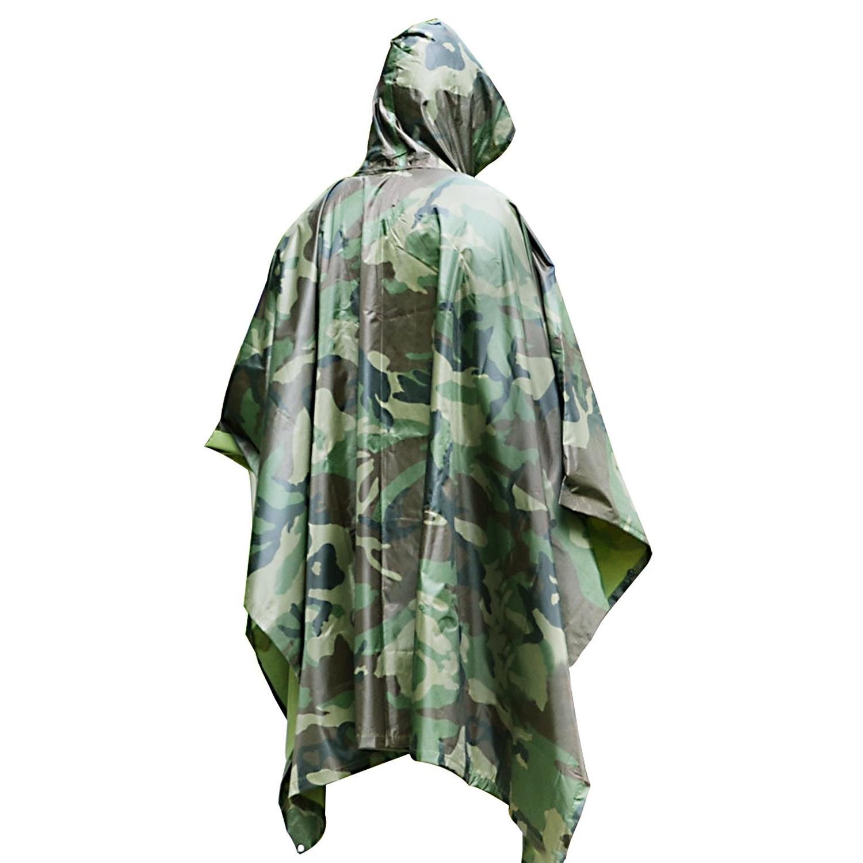 Herbruikbare camouflage regenponcho's voor volwassenen one size