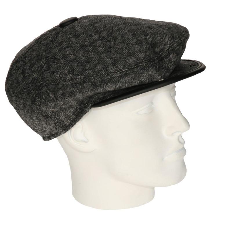Heren flat cap donkergrijs met lichte structuur