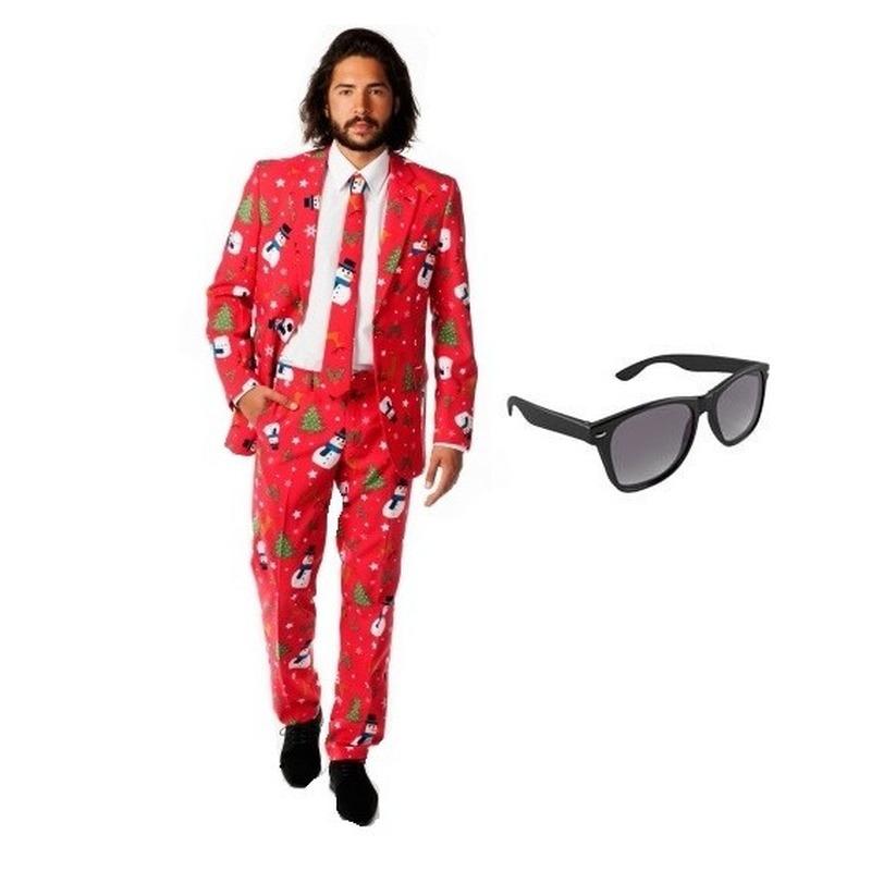 Heren kostuum met kerst print maat 56 (3XL) met gratis zonnebril