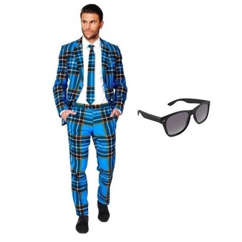 Heren kostuum met Schotse print maat 52 (XL) met gratis zonnebri