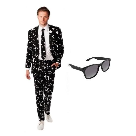 Heren kostuum met sterren print maat 50 (L) met gratis zonnebril