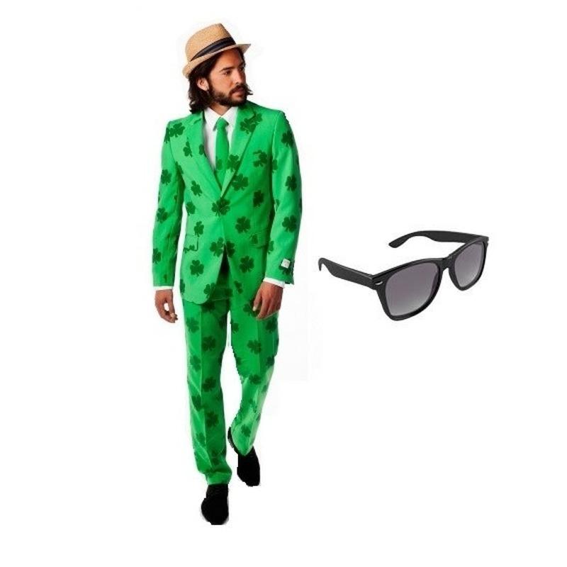 Heren kostuum Sint Patricks Day maat 50 (L) met gratis zonnebril