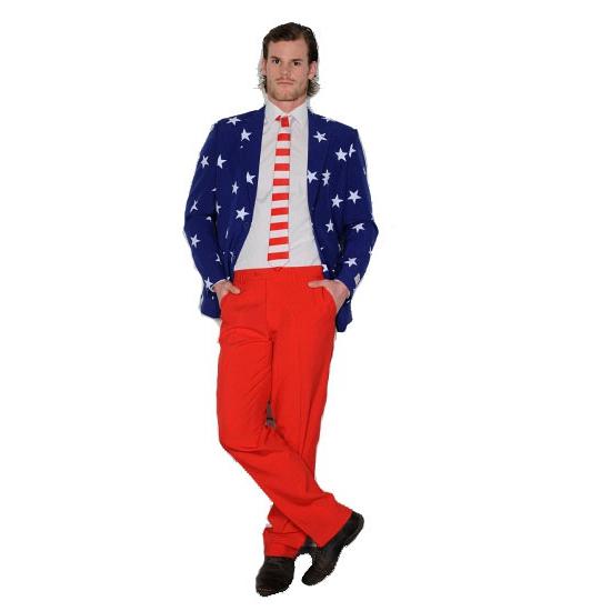 Heren pak met print van Amerikaanse vlag