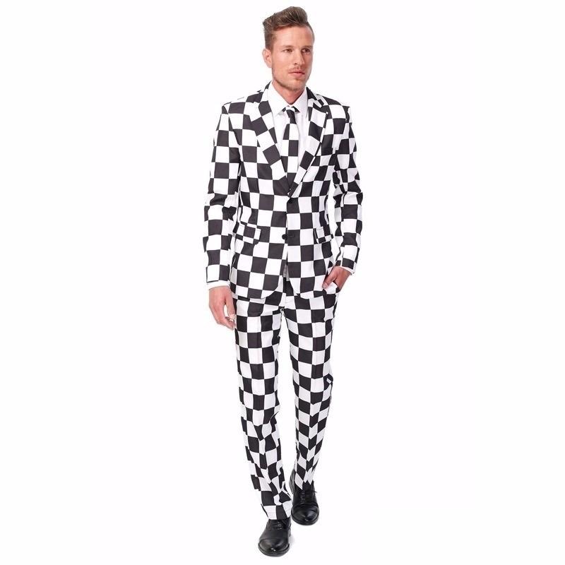 Heren pak met zwart wit geblokt print