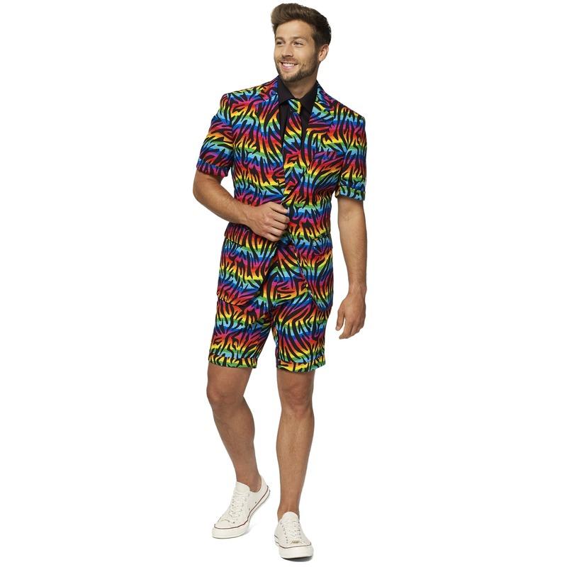 Heren verkleed zomer pak/kostuum zebra regenboog print
