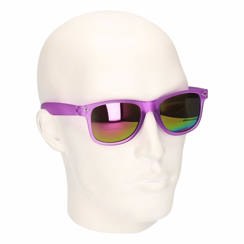 Hippe zonnebril paars met spiegelglazen