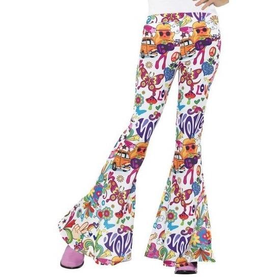 Hippie broek wit Love voor dames