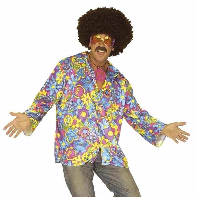 Hippie verkleed overhemd paars/blauw voor heren