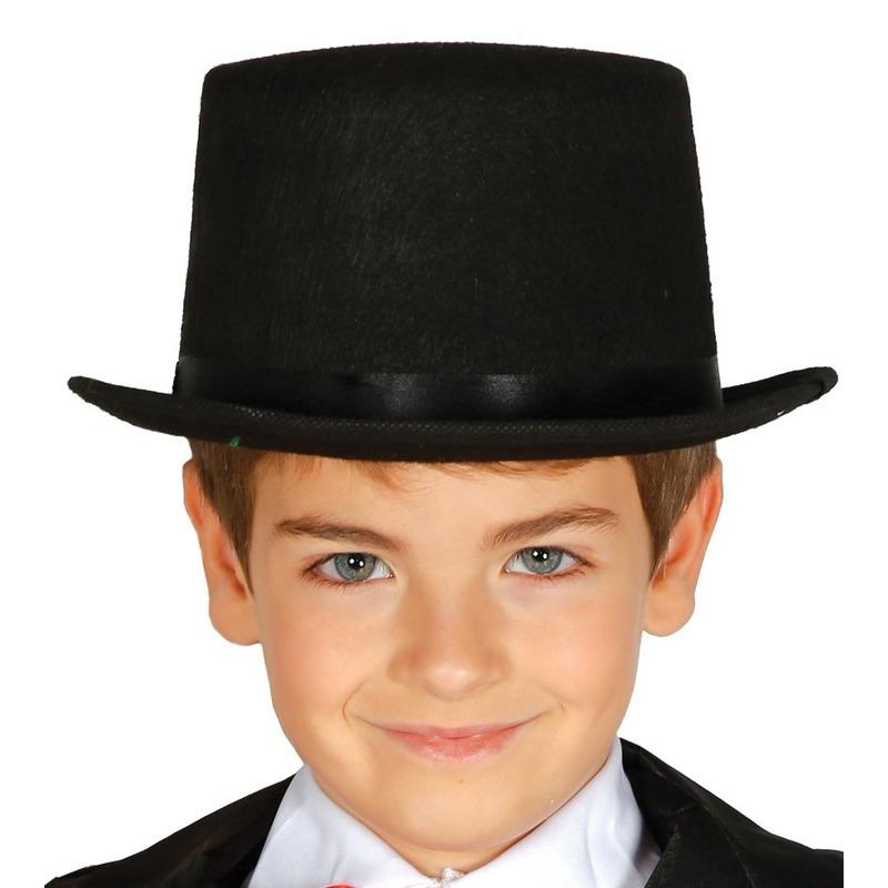 Merkloos Hoge verkleed hoed zwart voor kinderen