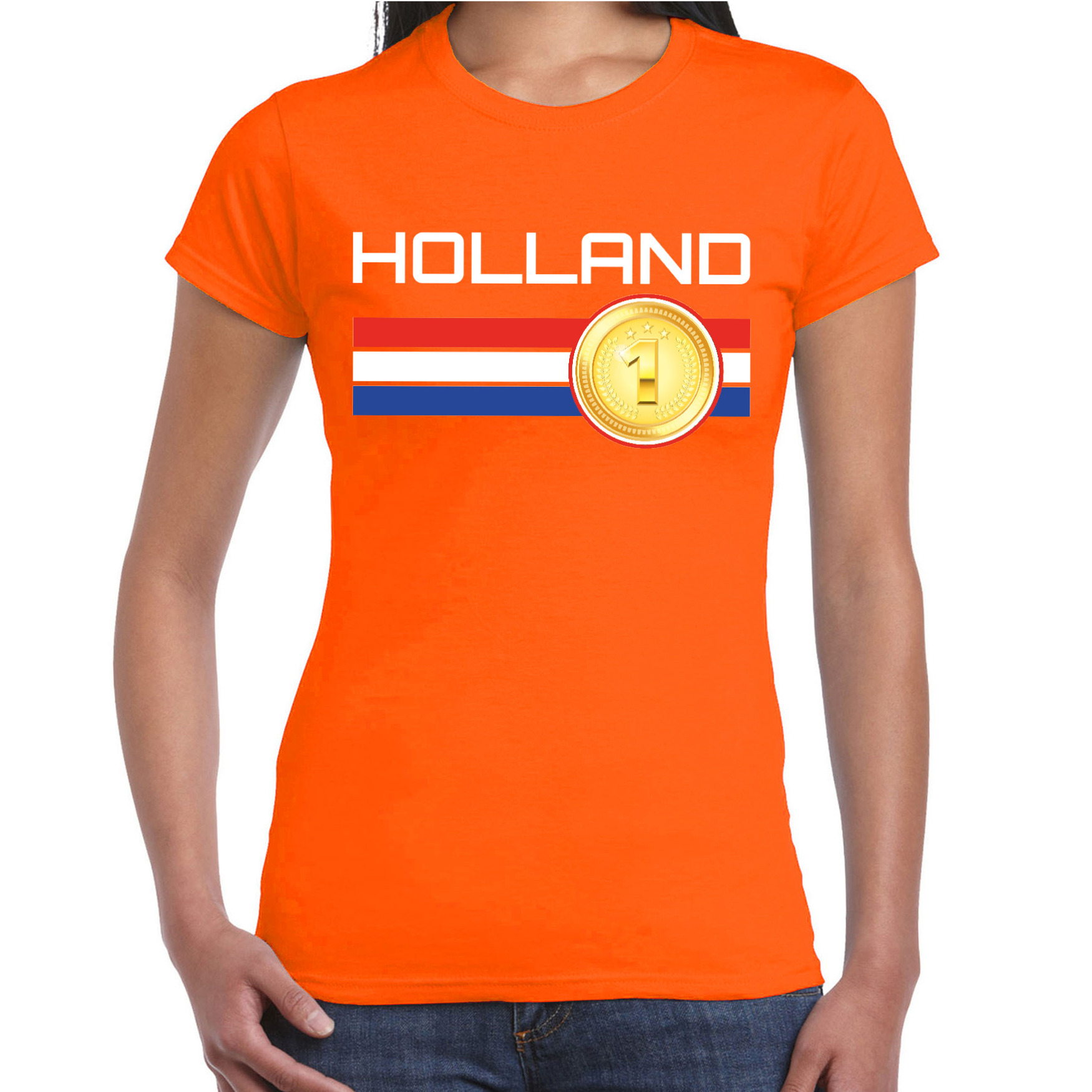 Holland landen t-shirt oranje dames