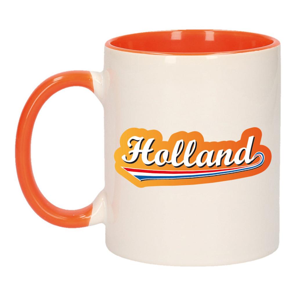 Holland met lettercontour mok/ beker oranje wit 300 ml