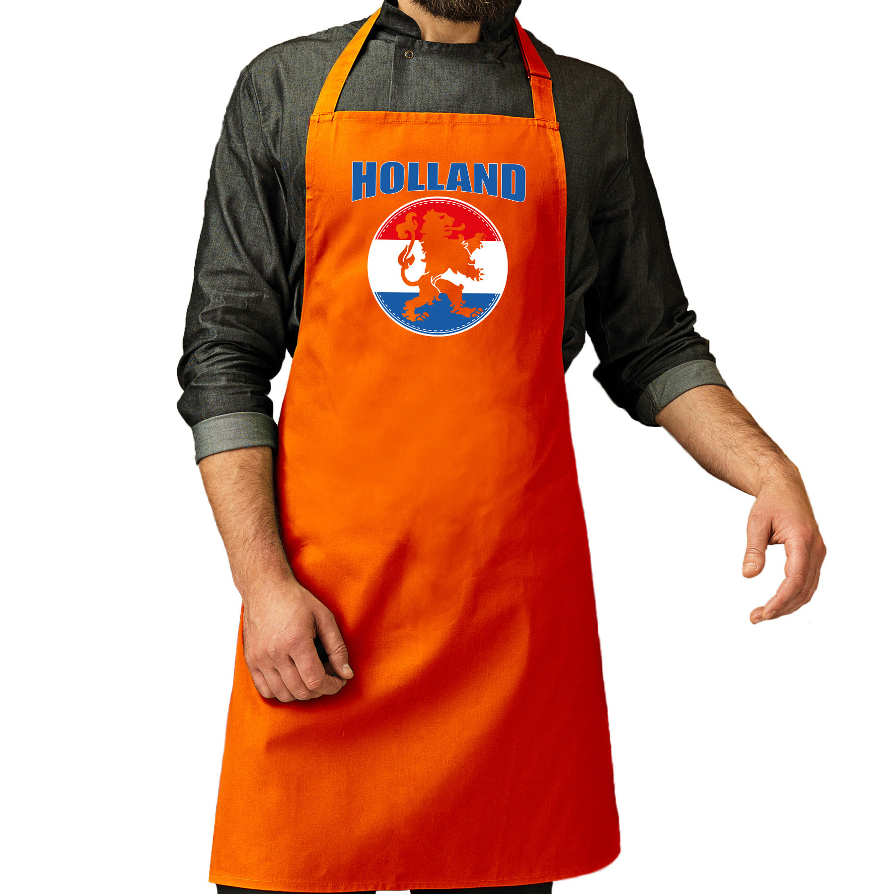 Holland oranje leeuw katoenen cadeau schort oranje EK/ WK voetbal voor dames en heren