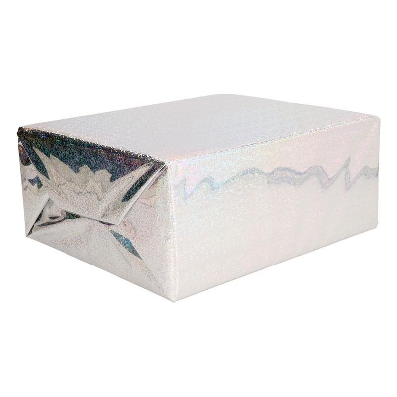 Holografisch inpakpapier zilver metallic hobbyfolie 70 x 150 cm