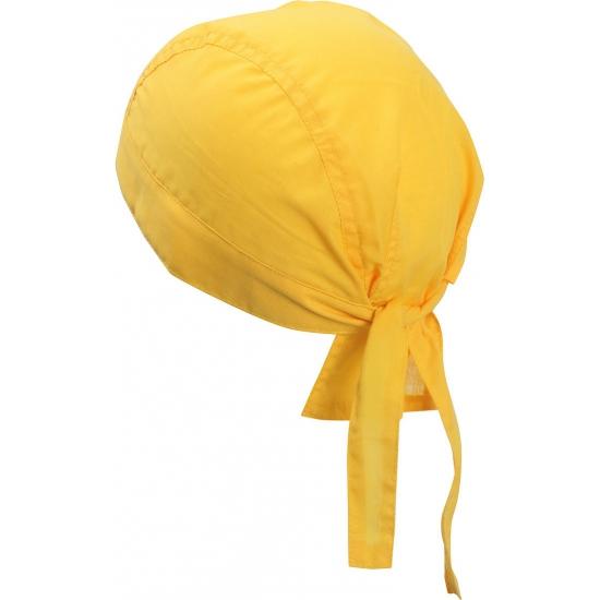 Hoofddoek bandana geel uni 1