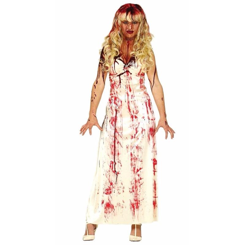 Merkloos Horror Carrie jurk met bloedvlekken verkleed kostuum voor dames