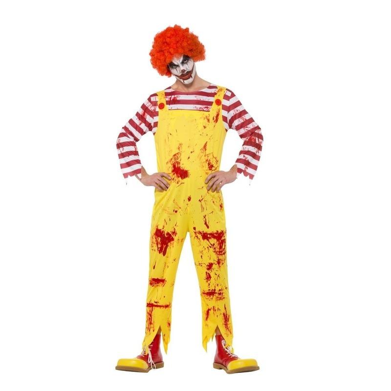 Horror clown kostuum rood/geel voor heren