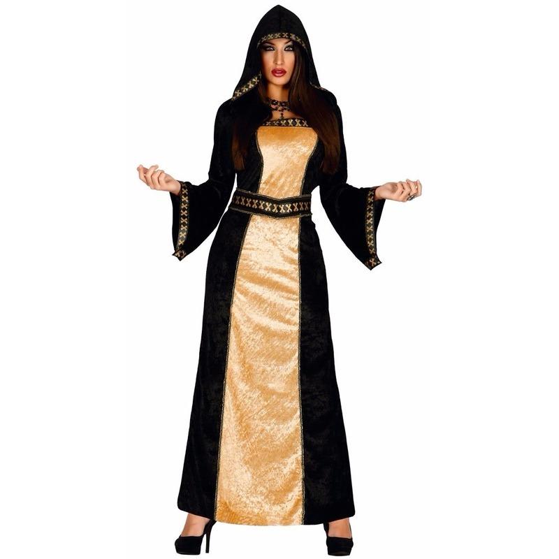 Horror duistere vrouw jurk zwart met goud