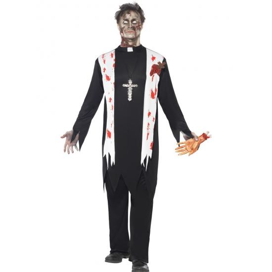 Horror pastoor kostuum met bloed