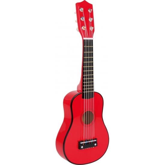 Houten gitaar 53 cm rood voor kinderen