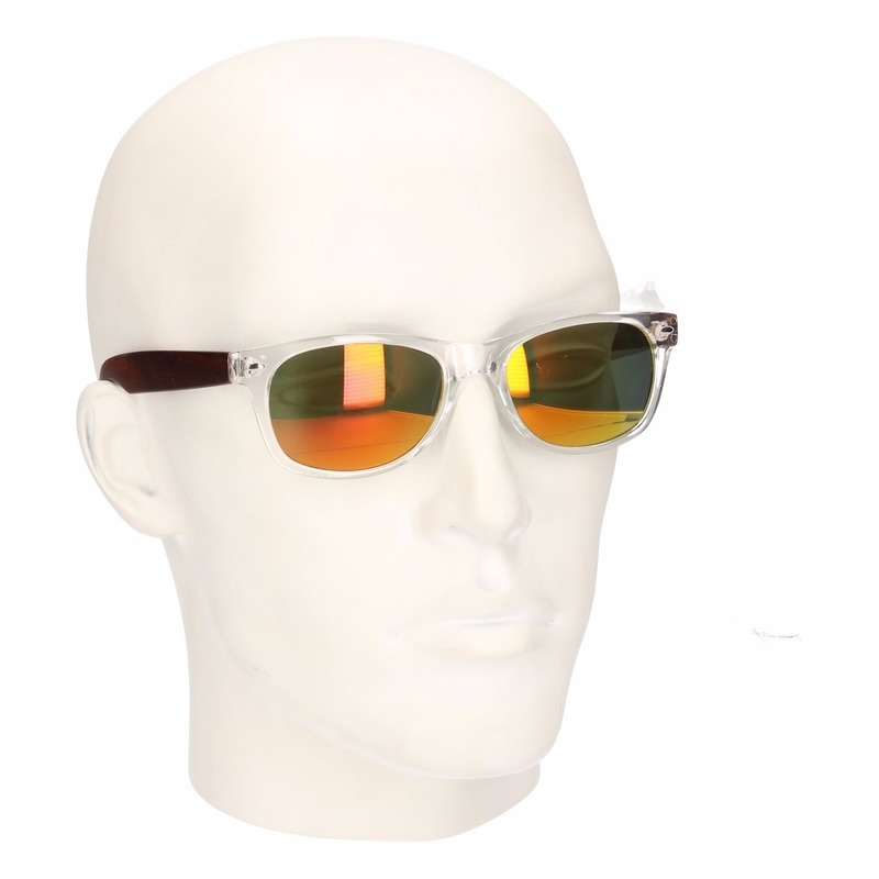 Houtlook Clubmaster heren zonnebril geel model 7112