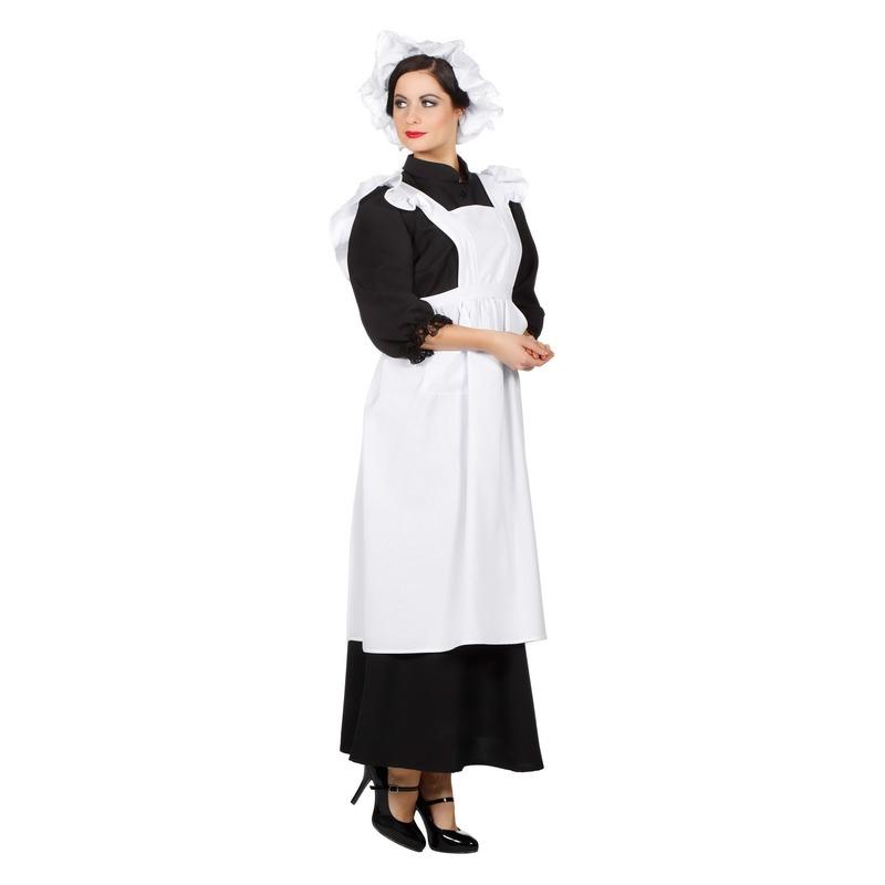 Huidhoudster schort en muts verkleedkleding