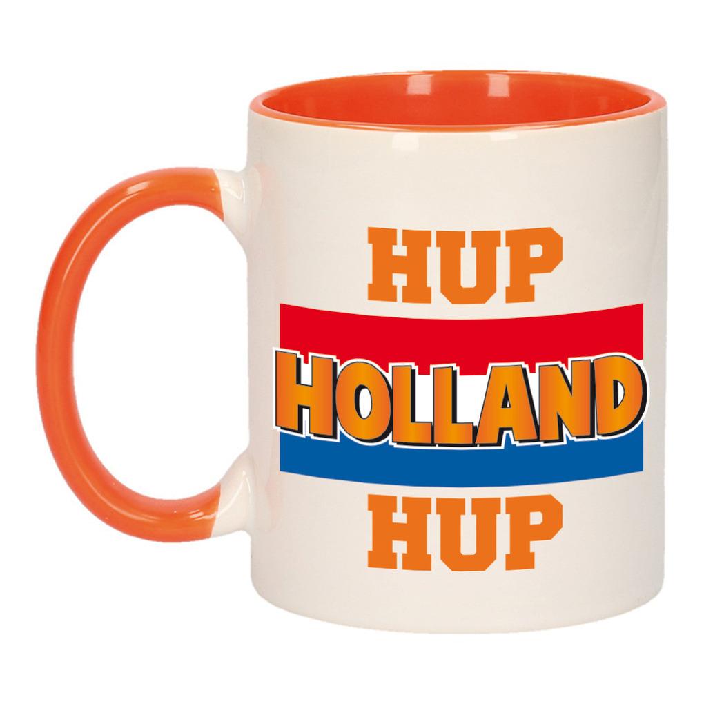 Hup Holland hup met vlag mok/ beker oranje wit 300 ml