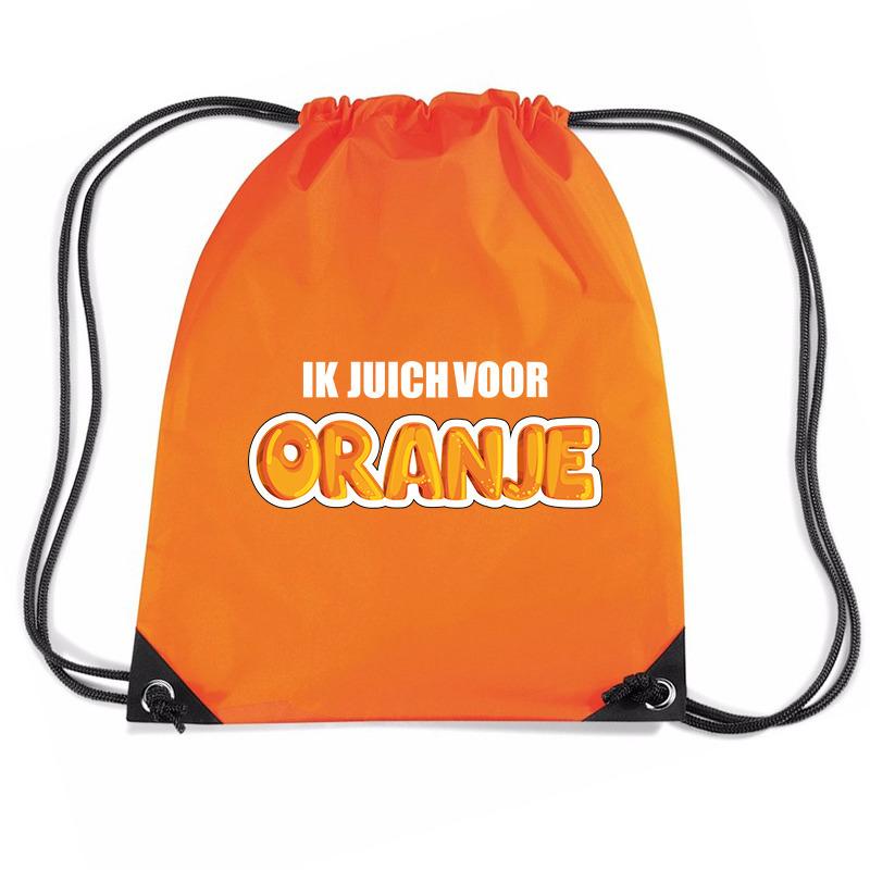 Ik juich voor oranje voetbal rugzakje - sporttas met rijgkoord oranje