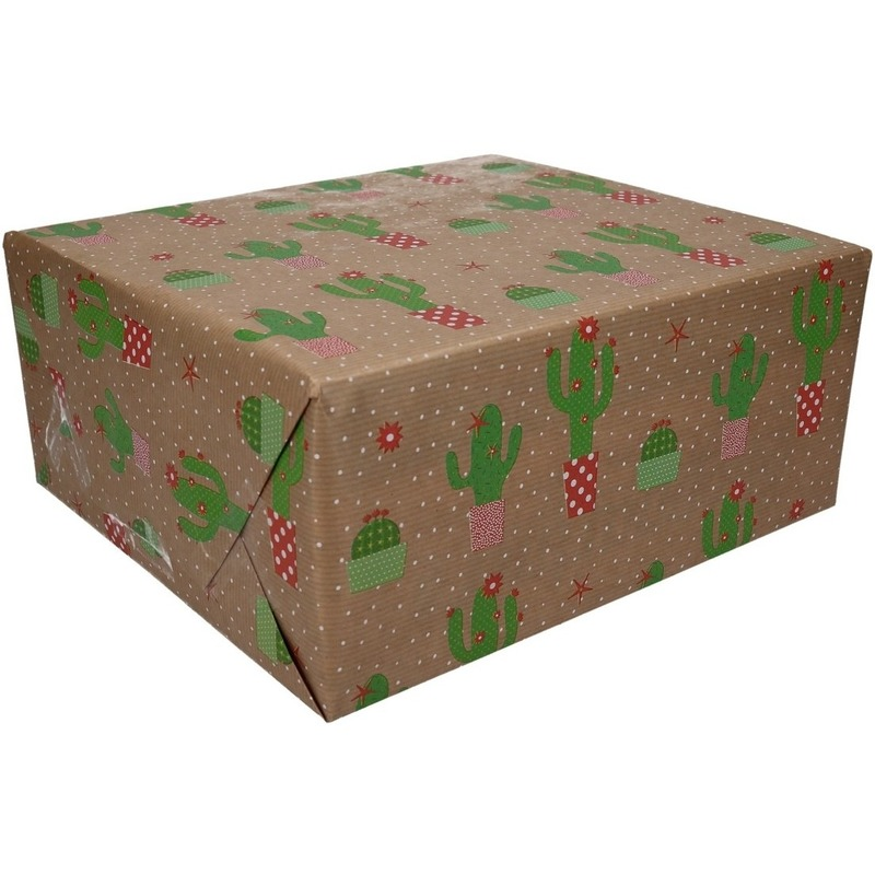 Inpakpapier/cadeaupapier bruin/cactussen 200 x 70 cm op rol