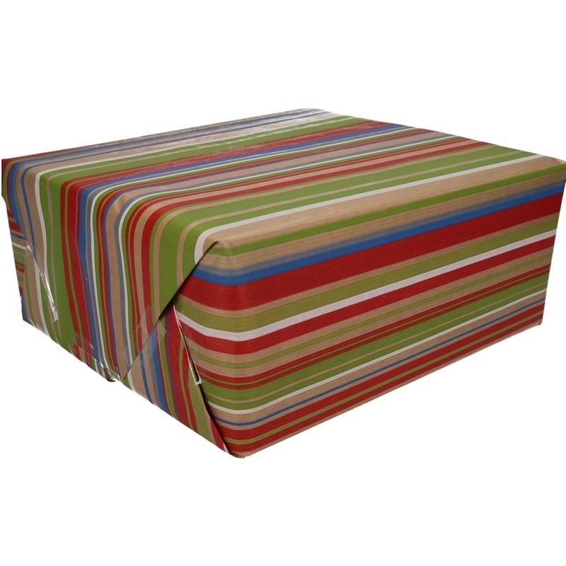 Inpakpapier/cadeaupapier bruin/gekleurde strepen 200 x 70 cm rol