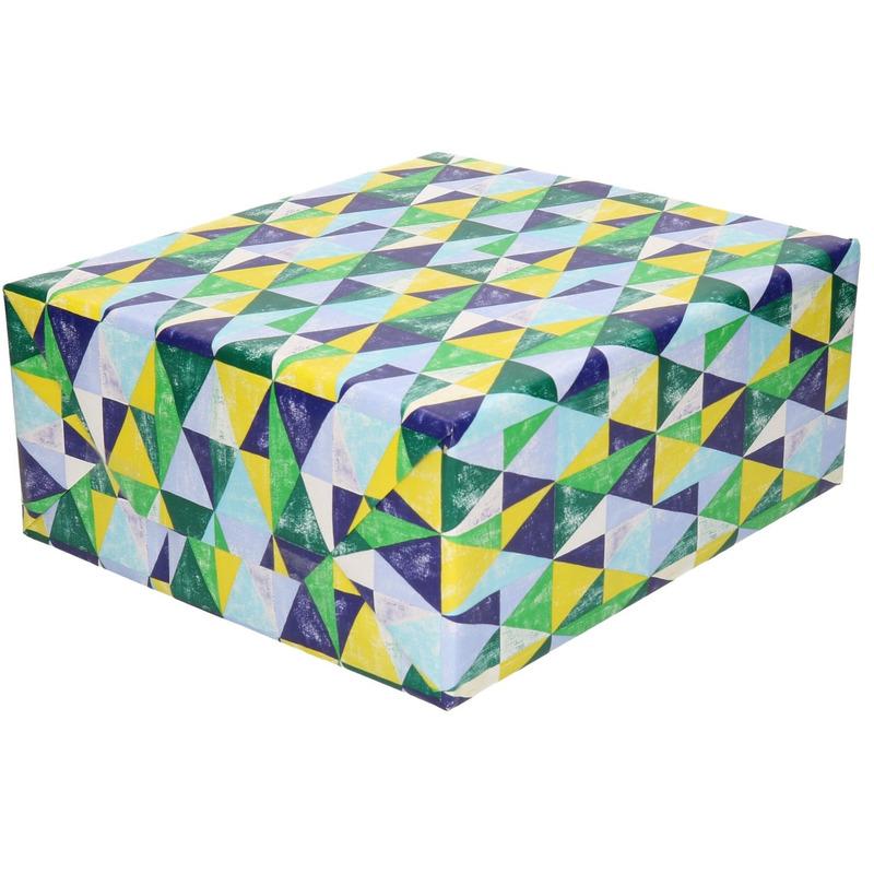Inpakpapier/cadeaupapier driehoeken blauw/groen 200 x 70 cm rol