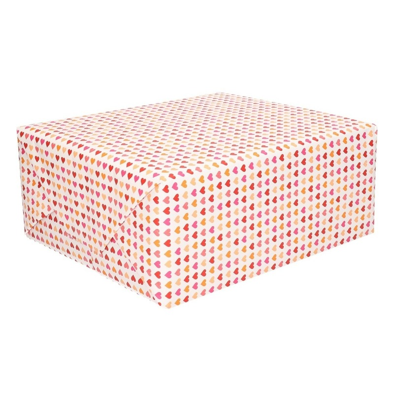 Inpakpapier/cadeaupapier met hartjes print 200 x 70 cm op rol