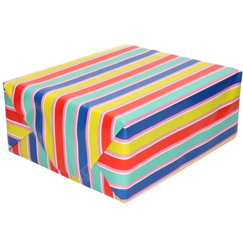 Inpakpapier/cadeaupapier multi-kleuren gestreept 200 x 70 cm rol