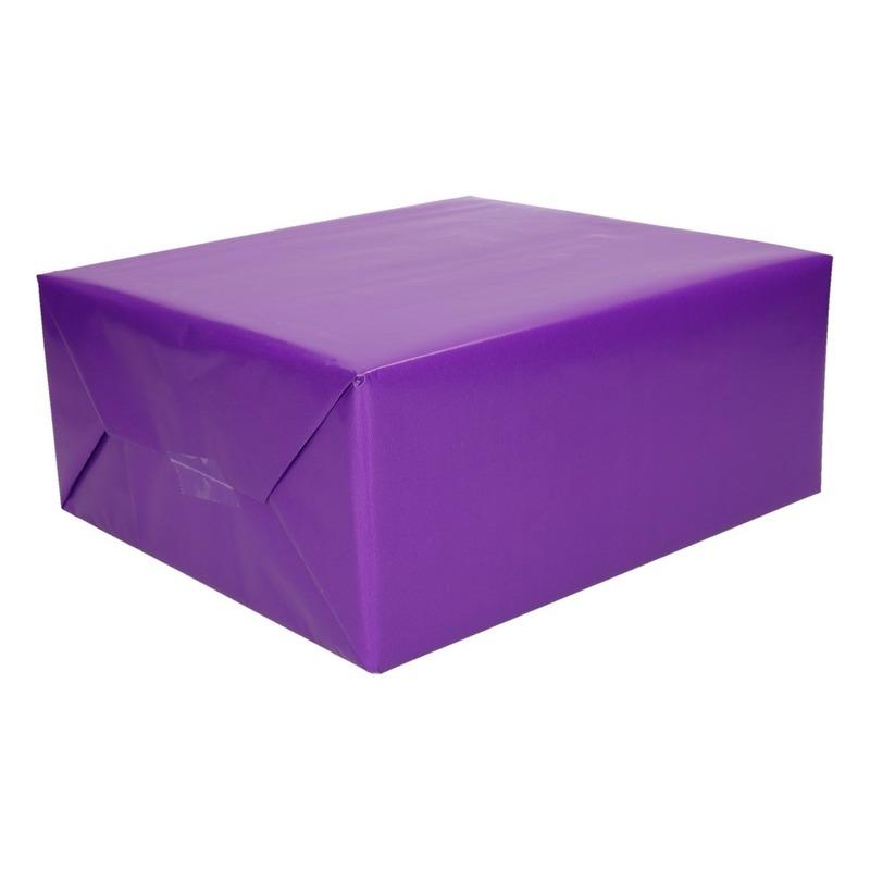Inpakpapier/cadeaupapier paars 200 x 70 cm op rol