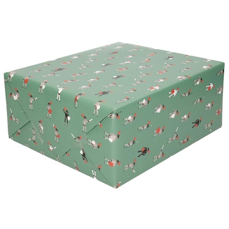 Inpakpapier/cadeaupapier ridder 200 x 70 cm groen/wit