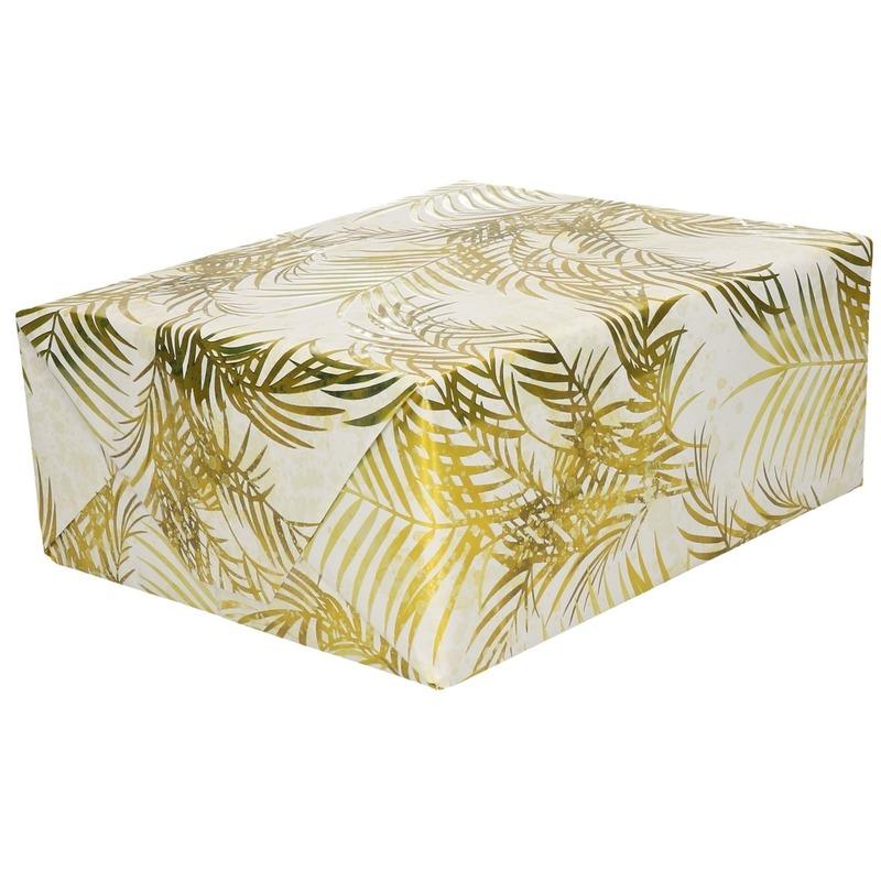 Inpakpapier/cadeaupapier wit/gouden palmbomen print 150 x 70 cm