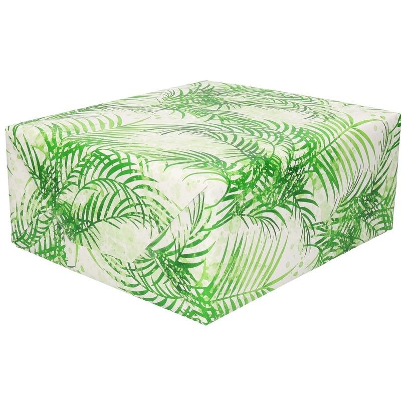 Inpakpapier/cadeaupapier wit/groene palmbomen print 200 x 70 cm