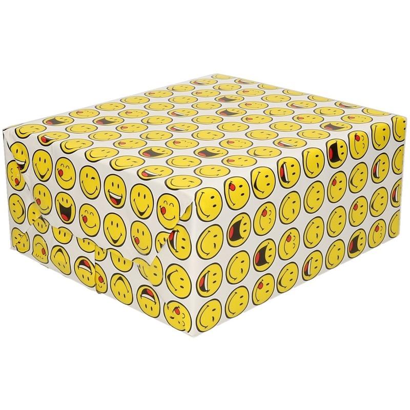 Inpakpapier/cadeaupapier wit met smileys 200 x 70 cm