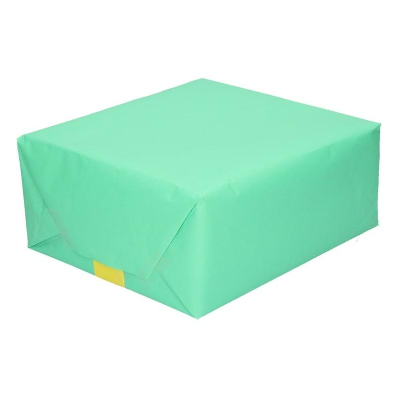 Inpakpapier dubbelzijdig mint groen/lime geel 200 x 70 cm