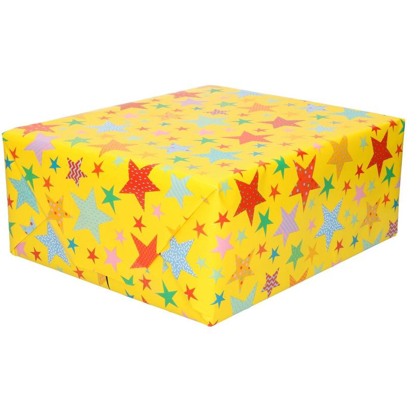 Inpakpapier kinder verjaardag met sterren thema 200 x 70 cm