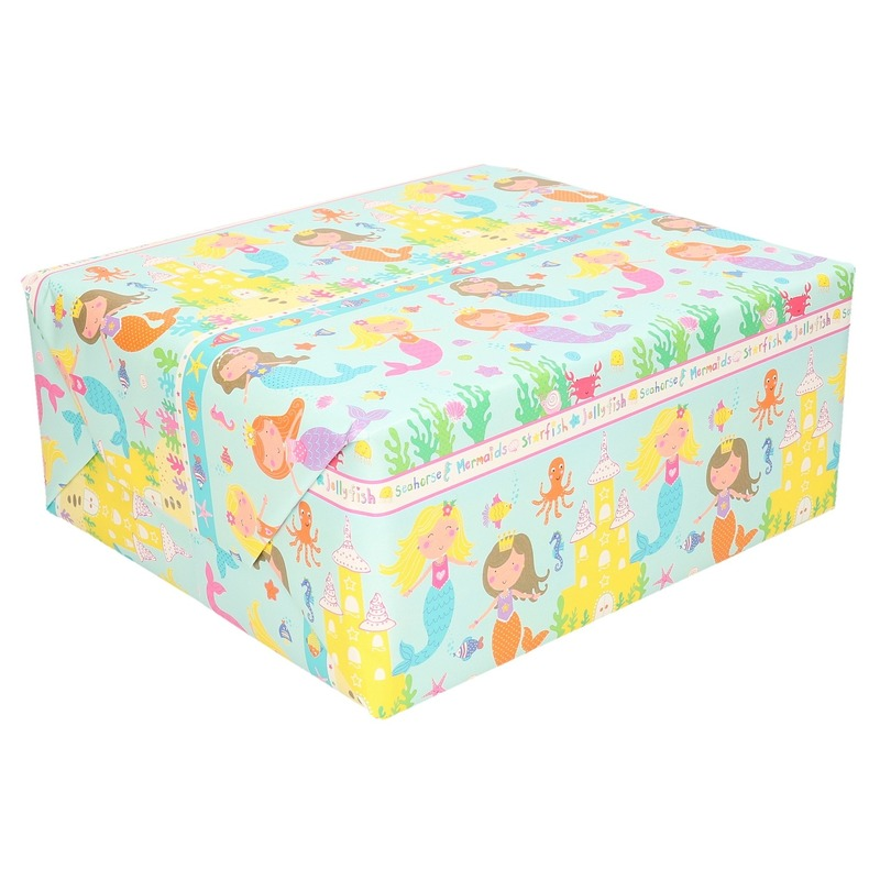 Inpakpapier kinder verjaardag met zeemeermin thema 200 x 70