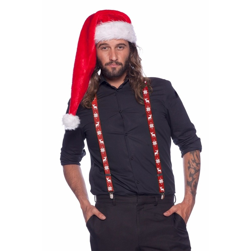 Kerst bretels rood/wit voor volwassenen