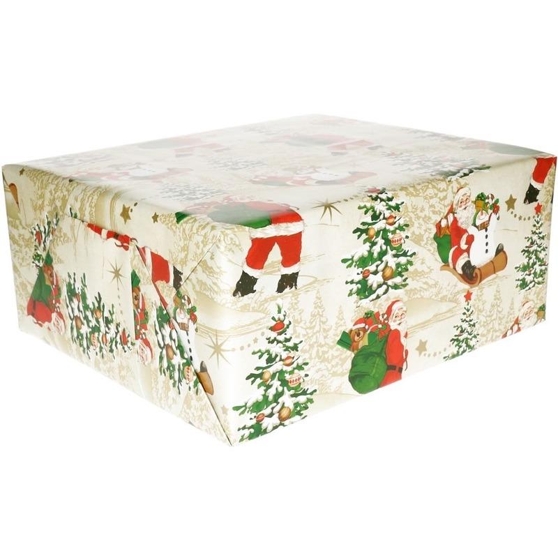 Kerst inpakpapier wit met klassieke Kerstman print 200 x 70 cm o