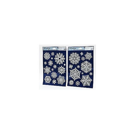 Kerst raamstickers-raamdecoratie sneeuwvlokken plaatjes 20x30 cm